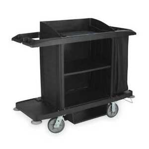 Rubbermaid Fg618900bla 60 Housekeeping Cart With Locking Casters