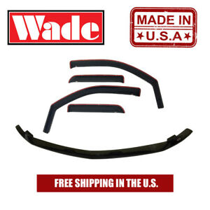 In channel Wind Deflector Bug Shield Combo For Nissan Frontier Crew 2005 2018