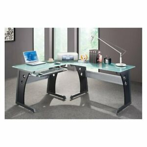Techni Mobili L shaped Glass Top Computer Desk Graphite