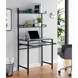Southern Enterprises Brax Metal glass Small space Desk With Hutch Black