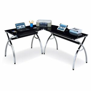 Techni Mobili L shaped Glass Computer Desk Black chrome