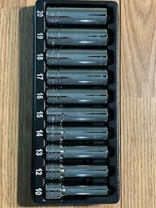 Snap On 10 Pc 1 2 Drive 6 Point Metric Deep Chrome Socket Set 10 20mm
