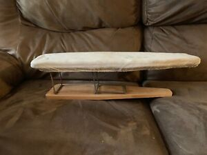 Old Antique Fabric Covered Wooden Ironing Board Primitive In Working Condition