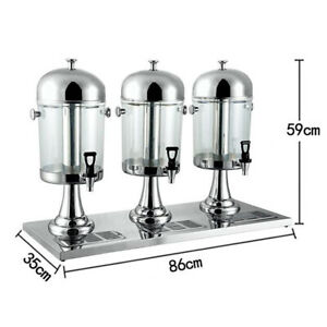 Commercial 3 Tank 8l X 3 Cold Drink Juice Beverage Dispenser Silver Usa Stock