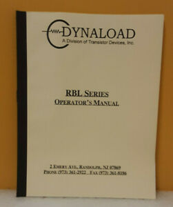 Dynaload Tdi Transistor Devices Rbl Series Operator s Manual