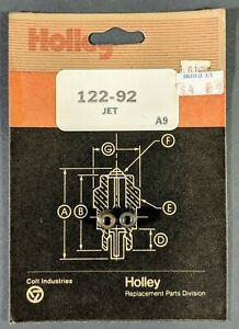 Holley Carburetor Main Jets 122 92 New Old Stock