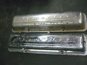 Pair Of Vintage Chevrolet Small Block Script Valve Covers