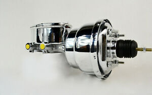 Polished Chrome Oval Aluminum Master Cylinder 1 1 8 Bore With 8 Dual Booster