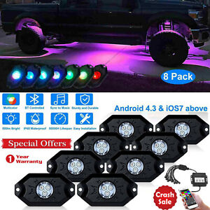 8x Pods Auto Rgb Led Rock Light Offroad Wireless Music Controller For Car Truck