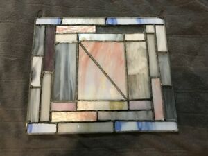Vintage Handmade Leaded Stained Glass Art Panel Window Hanging 10 X 11 5