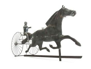 Antique Copper Sulky Jockey Horse Buggy Weathervane Equestrian Art Folkart