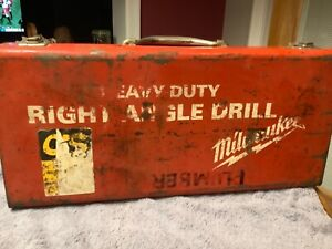 Vintage Milwaukee 1101 1 Heavy duty 1 2 Corded Right Angle Drill W Metal Case