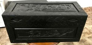 Vintage Carved Asian Chinese Camphor Wood Blanket Tea Trunk Chest Coffee Table