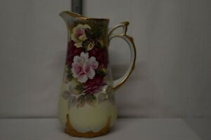 Antique Unsigned Ornate Painted Gilt Roses Porcelain Tall Pitcher Tankard 10