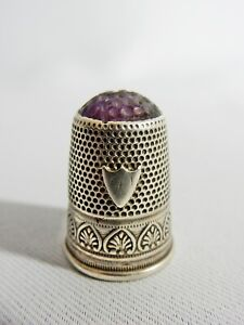 Antique Victorian Edwardian Sterling Silver Amethyst Top Sewing Thimble Stone