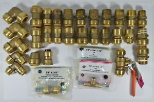 Lot Of 31 Genuine Sharkbite Brand Brass Pipe Fittings Adapters Various Sizes