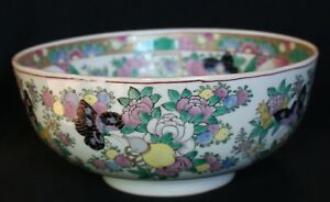 Antique Chinese Porcelain Famille Rose Canton Footed Bowl Flowers Butterflies
