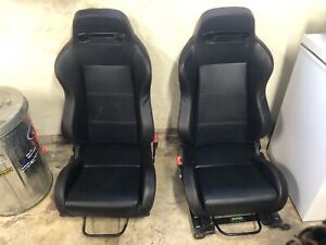 2 Pc Black Suede Pvc Leather Red Stitch Lightweight Speed Racing Seat