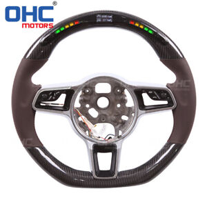 Real Carbon Fiber Led Steering Wheel For Porsche Cayenne Macan Panamera 911 978