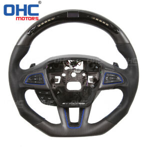 Real Carbon Led Steering Wheel For Ford Focus Rs Fiesta Mondeo Fusion Edge