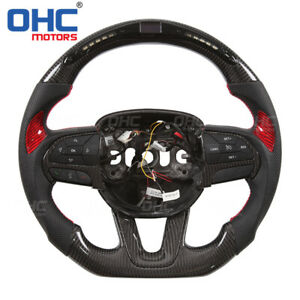 Real Carbon Fiber Led Steering Wheel For Dodge Charger Challenger Ohc Motors