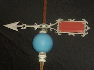 Original 1900 S Antique Farmhouse Lightning Rod Weathervane Blue Glass Ball 51