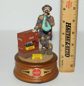 1994 Coca Cola Emmett Kelly Clown Figurine Music Box At The Coke Cooler Mint