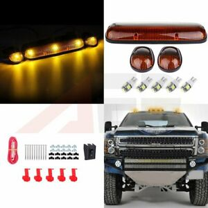 3pcs Amber Top Cab Clearance Light W 5050 White Led For 02 07 Chevy Gmc 12v