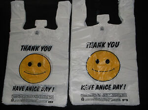 476 Ct Plastic Shopping Bags happy Face grocery Standard Size White 1 6 Size