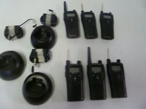 Lot Of Six Motorola Xtn Series Xu2100 Uhf Two Way Radios W Three Chargers Lp2