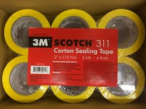 36 Rolls 3m Scotch 311 2 x110yd 2 Mil Carton Sealing Tape Heavy Duty Yellow