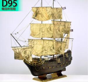 37 The Black Pearl Wooden Ship Black Sails Model Pirate Ship World Map On Sails