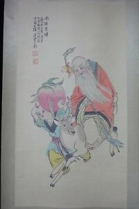 Very Fine Large Chinese Scroll Hand Painting Longevity Old Man Zhouyixin Marks