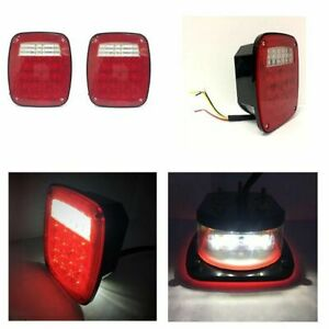 Square Trailer Tail Light Kit Rear Truck Boat Led Marker Blazer Utility Camping