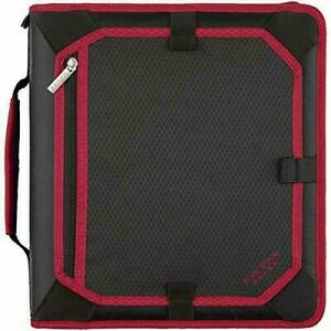 Five Star 2 Inch Zipper Binder 3 Ring Expansion Panel Red black