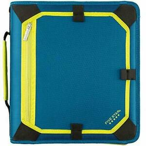 Five Star 2 Inch Zipper Binder 3 Ring Expansion Teal chartreuse