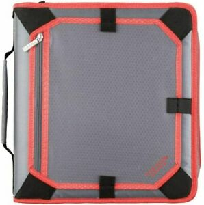 Five Star 2 Inch Zipper Binder 3 Ring Large Gray bright Coral