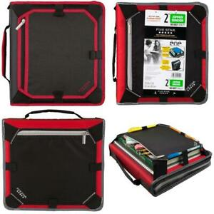 Five Star Zipper Binder 2 Inch 3 Ring Expansion Black red gray