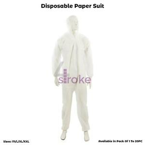 10 Disposable Coveralls White Boilersuit Hood Painters Protective Overalls Suit