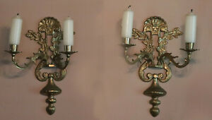 Pair Vintage 2 Arms Brass Wall Sconce Candle Holders Ea 13 5 8 Tall