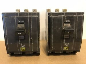 2 Count Square D Circuit Breakers Qob340 40 Amp 3 Pole