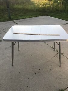 Kitchen Diner Table Vintage Retro Gray Chrome Trims With Hairpin Leg Supports