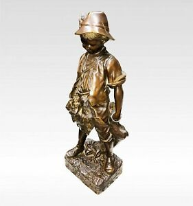 A Lovely Bronze Figure Of Boy After August Moreau Signed
