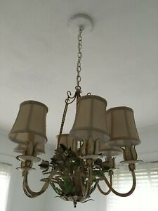 Vintage Antique Chippy Tole Metal Floral Rose Chandelier