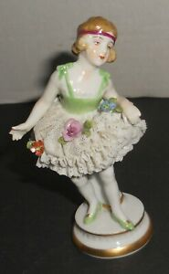 Antique Dresden Porcelain Lace Ballerina Figurine Dancer 4 5 W Flowers Vtg