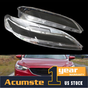 2x Front For 2003 2008 Mazda 6 Mazda6 Headlight Headlamp Lens Cover Clear Shell