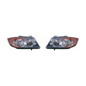 Fits 2006 Bmw 330xi Head Light Assembly Pair Driver And Passenger Side