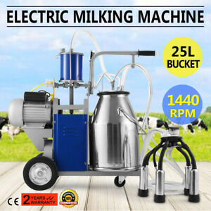Electric Milking Machine For Farm Cows 25l Bucket Easy To Manoeuvre Stainless