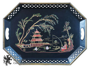 Vintage E T Nash Hand Painted Toleware Asian Tea Serving Tray Metal