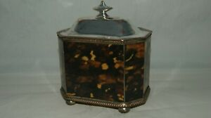 Faux Tortoiseshell And Silver Plate Tea Caddy
